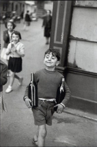 Henri Cartier-Bresson, Boy Carrying a Wine Bottle, (Rue Mouffetard, Paris, 1954)