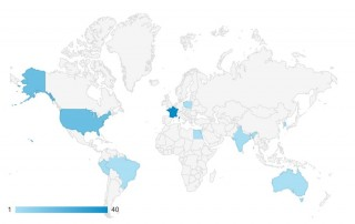 Google Analytics map showing visits from EU